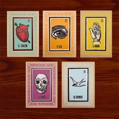 Loteria Art Print Set, including: El Corazon, El Ojo, La Mano, El Espiritu, El Craneo.