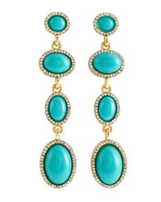 Fragments Pave Four-Tier Linear Earrings, Turquoise