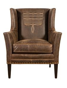 Top Grain Distressed Brown Leather Accent Chair with Boot Stitch Design. If you are in search of the quintessential quality western living room chair, you need look no further than our Modern Boot Stitch Chair. Western Furniture, Rustic Furniture, Furniture Design, Western Living Rooms, Leather Recliner Chair, Rustic Chair, Elegant Living Room, Lodge Decor, Antique Chairs