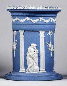Recipiente de cerámica diseñado por John Flaxman, finales del siglo XVIII.