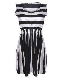 Sleeveless Vest Chiffon Dress - Black/White