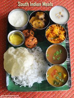 South indian lunch recipes, South indian meals – Sharmis Passions south indian lunch recipes with stepwise pictures.south indian lunch menu with vada payasam and appalam. Veg Dinner Recipes, Quick Lunch Recipes, Indian Food Recipes, Simple Recipes, Veg Dishes, Food Dishes, Veg Thali, South Indian Food, South Indian Thali