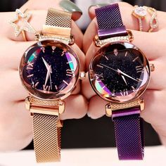 Fashion Women Watches Luxury Brand Rose Gold Starry Sky Magnet Quartz Wrist Watches for Women 2019 Ladies Watch Montre Femme Stylish Watches, Cool Watches, Watches For Men, Wrist Watches, Cheap Watches, Ladies Watches, Luxury Watches Women, Female Watches, Unique Watches