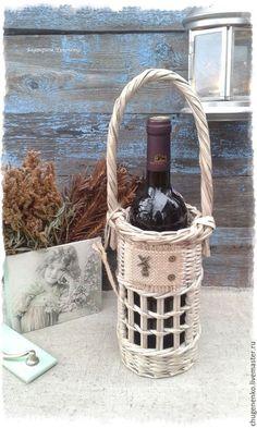 """Корзины, коробы ручной работы. Ярмарка Мастеров - ручная работа. Купить Плетеный короб для вина """"Теплый вечерок"""". Handmade. Серый"""