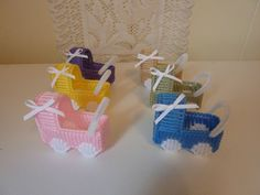 "HANDMADE ""BABY BUGGY KEEPSAKE SHOWER GIFTS"" IN PLASTIC CANVAS #BabyShower"