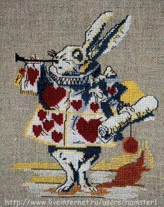 ru / Фото - + - colourful white rabbit alice in wonderland cross stitch pattern Blackwork Embroidery, Cross Stitch Embroidery, Embroidery Patterns, Modern Cross Stitch Patterns, Cross Stitch Designs, Alice In Wonderland Cross Stitch, Fair Isle Knitting Patterns, Cross Stitch Love, Square Quilt