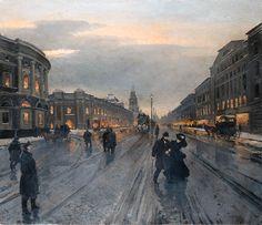 Alexander Karlovich Beggrov (1841-1914) View of the Nevskii Prospect