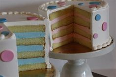 Baby Gender Reveal Cakes - Is it a boy? Is it a girl? As you slice the cake, pink or blue filling will reveal if you are having a girl or boy. Simple Gender Reveal, Baby Shower Gender Reveal, Baby Gender, Gateau Baby Shower, Shower Cake, Baby Reveal Cakes, Babyshower, Cake Quotes, Gender Party