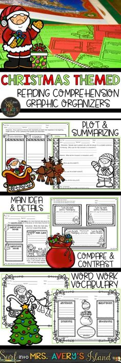These Christmas themed graphic organizers are perfect to couple with your favorite December read alouds to promote your students' reading comprehension skills.  Click the link to discover the ease of incorporating these no-prep, print and go, holiday graphic organizers into your reading lesson plans during December.