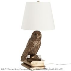 HARRY POTTER™ HEDWIG™ Lamp. Just like Harry Potter's™ trusted Snowy Owl, our table lamp will never let you down. Rustically designed with a bold, bronze finish, this smart table lamp is always up to the task. Use it for composing top-secret messages or studying the MARAUDER'S MAP™ (or, er, mathematics), late into the night.