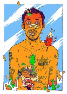 self shit portrait Douglas Bicicleta, art, illustration,