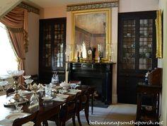 Dining Room - unusual built in cabinets & black fireplace - Rosedown Plantation