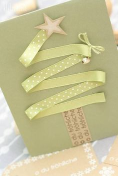 Handmade Christmas Card with a ribbon tree. Homemade Christmas Cards, Christmas Cards To Make, Noel Christmas, All Things Christmas, Handmade Christmas, Homemade Cards, Christmas Decorations, Holiday Crafts, Thanksgiving Holiday