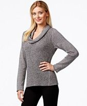 Eileen Fisher Mixed-Knit Cowl-Neck Sweater