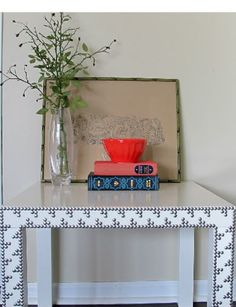 Upholstery tacks - use wooden ikea table