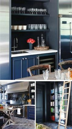 painted black cabinets with white cabinet and open shelving - wet bar