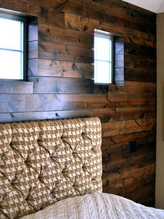wrapped wood paneling - no window trim