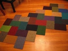 Carpet samples can be stitched together to make a really quite attractive rug.