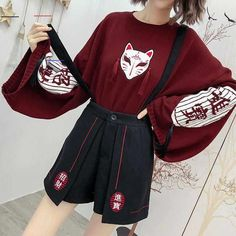 Cartoon Fox Embroidery Tassels Sweater Pullover Source by Modakawa clothes drawing Harajuku Fashion, Kawaii Fashion, Cute Fashion, Harajuku Clothing, Fox Sweater, Sweater And Shorts, Kawaii Sweater, Hipster Grunge, Grunge Style