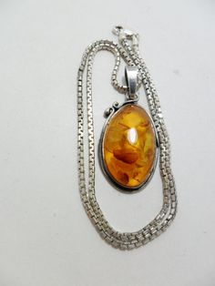 Vintage Necklace Pendant Amber Lucite 12 Grams 925 by KathiJanes, $39.95
