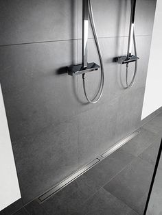 Wet room ideas - If you have the space, why not have a large wet room? Unidrain can be made bespoke. Dream Bathrooms, Small Bathroom, Light Oak, Light In The Dark, Linear Drain, Big Baths, Walk In Shower Designs, Dark Walls