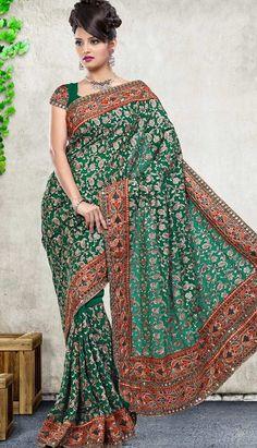 Shop Beautiful Latest Indian Green Faux Georgette #DesignerSaree Product code: KDS-39275 Price: INR6142 (Unstitch Blouse), Color: Green Shop Online now:  http://www.efello.com.my/Saree_Beautiful-Latest-Indian-Pink-Faux-Georgette-Designer-Saree,-Sari_37690