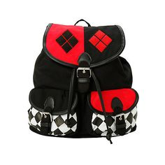 DC Comics Harley Quinn Slouch Backpack | Hot Topic ($28) ❤ liked on Polyvore featuring bags, backpacks, accessories, snap bag, slouch backpack, draw string bag, slouch bag and draw string backpack