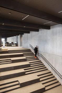 De Krook City Library, Ghent, Belgium by Coussée & Goris Architecten, RCR arquitectes, Tim Van de Velde Architecture Design, Library Architecture, Stairs Architecture, Landscape Architecture, Auditorium Architecture, City Library, Library Design, Green Library, Modern Library