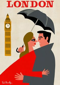Paul Thurlby is a London-based illustrator who has created retro modern designs for more than ten years. They are beautiful. Retro Poster, Vintage Travel Posters, Party Vintage, Illustrations Vintage, London Poster, Under My Umbrella, Travel Brochure, Travel Illustration, Vintage London