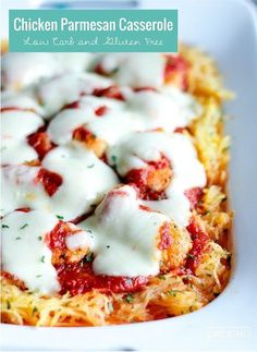 This low carb and gluten free chicken parmesan casserole is guaranteed to be a hit with the whole family! Keto and Atkins friendly!