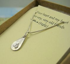 Precious Silver Tiny Teardrop Om Pendant on Sterling Silver Chain on Etsy, $27.00