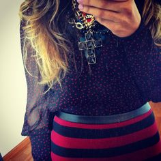 Striped skirt, printed blouse and cross necklace Streetstyle