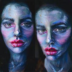 Makeup For Mermaids on Instagram: Oil painting / modern art portrait makeup using the Makeup Forever Flash Palette. Art avant garde makeup, MUA makeup artist, cool makeup, costume makeup, face paint