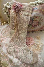 Beautiful Lace Christmas Stocking