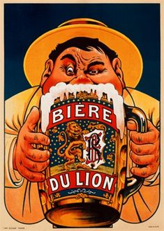 Biere du Lion by Oge 1909 Belgium - Beautiful Vintage Poster Reproduction. This vertical Belgian wine and spirits poster features a fat man in yellow suit and hat hidden behind the giant beer mug he is drinking. Giclee Advertising Print. Classic Posters