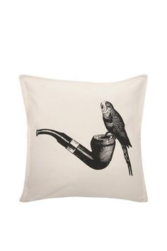 "so cute - Parakeet/Pipe Pillow 18"" x 18"" - Cream/Black"