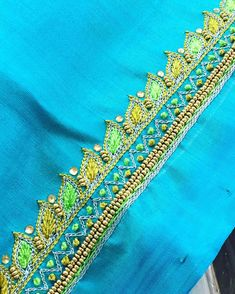 Discover recipes, home ideas, style inspiration and other ideas to try. Simple Embroidery Designs, Simple Blouse Designs, Blouse Simple, Embroidery Patterns, Saree Blouse Neck Designs, Bridal Blouse Designs, Bead Embroidery Jewelry, Hand Designs, Silk Blouses