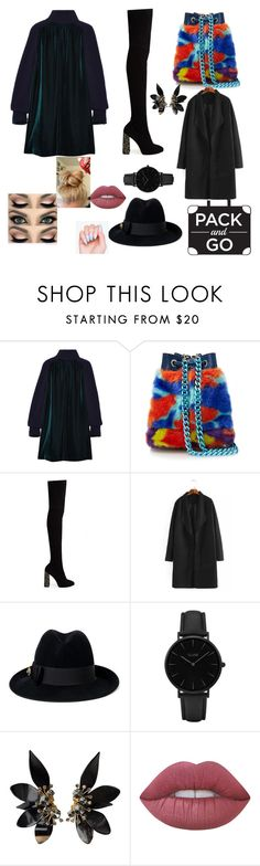 """""""Playful blackness"""" by meryfaz ❤ liked on Polyvore featuring Sacai, House of Holland, Sophia Webster, Gucci, CLUSE, Marni and Lime Crime"""