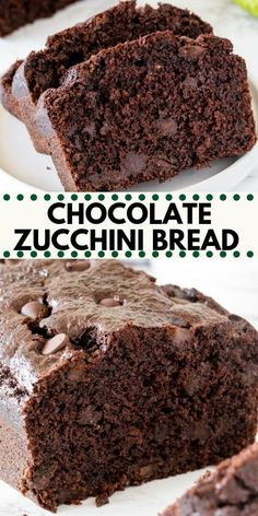 sweet bread Chocolate zucchini bread thats incredibly moist, not too sweet, and packed with chocolate chips. The grated zucchini dissolves as it bakes - leaving you with a delicious chocolate loaf thats deliciously tender. Köstliche Desserts, Delicious Desserts, Dessert Recipes, Healthy Cake Recipes, Health Desserts, Plated Desserts, Healthy Baking, Yummy Food, Chocolate Recipes
