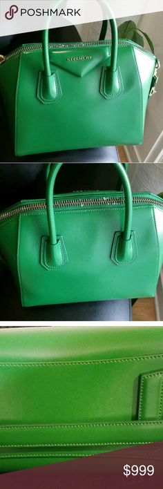 """Givenchy antigona small green tote Hi! Up for sale is a gorgeous green Givenchy Antigona small Bag! It is in beautiful condition.  I am trying to clear out my closet so please check out my other items. There will be many more items up for sale. Designer brands!   Retails over $2200!!!!   11""""W x 9""""H x 6""""D. (Interior capacity med)  Has small scratch. See picture.   10000000000% Authentic!!!    SORRY NO INTERNATIONAL SHIPPING   Thank you Givenchy Bags Totes"""
