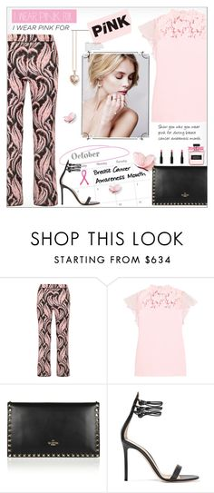 """""""I Wear Pink for..."""" by alves-nogueira ❤ liked on Polyvore featuring Giambattista Valli, Valentino, Gianvito Rossi and Thomas Sabo"""