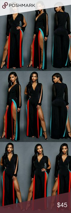 "🆕️🆕️🆕️🆕️JUNIORS HIGH SLIT JUMPSUIT Look glamorous and undeniable sexy in this juniors high slit jumpsuit. Features a plunging neckline, long shirt sleeves, and slit sides with a vibrant stripe design. Made with a natural waist and finished hem.  - 50% Rayon, 50% Polyester  - Hand Wash Cold  - Made in USA  MODEL  - Model is wearing size S  - Model is 5'4"" / Bust: 32"" / Waist: 22"" / Hip: 38"" Good Pants Jumpsuits & Rompers"