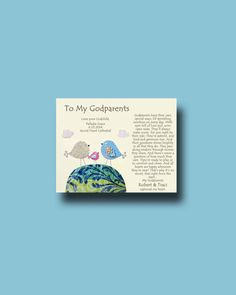 Godparents gift - Personalized gift for Godmother and Godfather - Gift from Godchild - Godparents Baptism Keepsake - TREE
