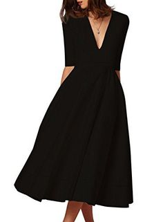 #HUSKARY Women's #Fashion New #Ruched #Waist #Classy Deep-V #Neck #Party #Swing #Dress Material: 60%Polyester, 36%Nylon, 4%Spandex(Thick material for spring,fall,winter / Elegant and cheap with high quality supply) Slim style,Half Sleeve,Hidden pockets on side.Very elegant and noble,the plunging v-neck design highlights both your decolletage and your back. Get ready for an all-eyes-on-you look with this amazing #dress Chic enough for any special occasion, from wedding ceremon