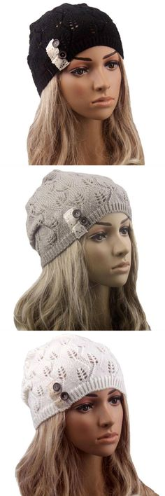 d3cee41a148 Casual women hat for winter casual ladies leaves hollow out knitting hat  wool solid hat for