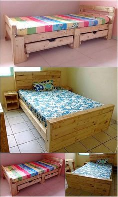 Fresh Recycling Ideas for Used Wooden Pallet Projects Pallet Bed Frames, Diy Pallet Sofa, Wooden Pallet Projects, Pallet Beds, Wooden Pallets, Pallet Dining Table, A Table, Pallet Furniture Sofa, Furniture Ideas