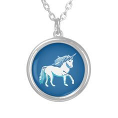 Unicorn Dark Blue and White Necklace; Abigail Davidson Art; ArtisanAbigail at Zazzle