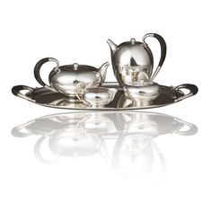 Four Piece Georg Jensen Tea and Coffee Set on Matching Tray  Denmark  circa 1930s