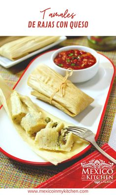 How to make Tamales de Rajas Con Queso │The mellow flavor of the Queso Fresco makes a perfect match with the spiciness and smoky flavor of the roasted Poblano peppers. Not everyone fills them with Poblano peppers, though, as some cooks use Serrano or jalapeño peppers. I used Queso Fresco in this recipe. Tamales de Rajas Con Queso. #mexicanfood #mexicanrecipes #homecook #foodrecipes #tamales #mexicancuisine Authentic Mexican Recipes, Mexican Dinner Recipes, Mexican Dishes, Mexican Desserts, Kitchen Recipes, Raw Food Recipes, Freezer Recipes, Drink Recipes, Mexican Cuisine