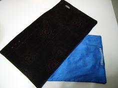 Echarpe double en velours marron légèrement rebrodé de paillettes ton sur ton et soie sauvage de couleur bleu azur de Bursa (Turquie)   Peut êtr...